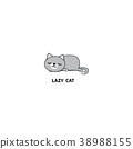 Lazy cat, kitten sleeping, logo design, icon 38988155