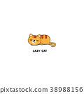 Lazy cat, kitten sleeping, logo design, icon 38988156