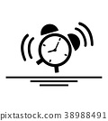 Alarm clock is vibrating and emitting sound. 38988491