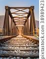 Old metal rail road bridge.  38989423