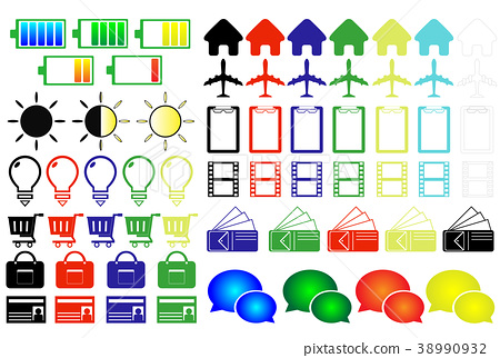 Colored Icons Home Battery Light Amount Wallet Airplane SNS Video Shopping Card Bag etc 38990932