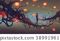man walking on tree branch with red lanterns 38991961