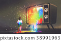 girl messed with colorful light from TV 38991963