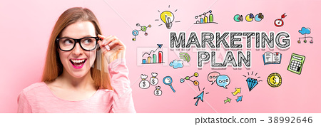 Marketing Plan with happy young woman 38992646