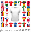 Collection of various soccer jerseys.  38992732