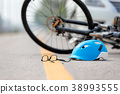 Accident car crash with bicycle on road 38993555