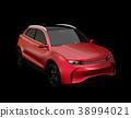 在黑背景的金屬紅色電SUV概念。原創設計。 38994021