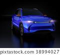 Image of metallic blue electric SUV on black background 38994027