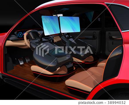 การประชุมทางวิดีโอบนจอภาพที่สามารถพับเก็บได้ซึ่งสามารถเก็บไว้ในที่นั่ง ข้อเสนอแนวคิดของรูปแบบการทำงานในรถยนต์ที่ขับขี่ด้วยตนเอง 38994032