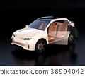 ภาพภายในของ SUV ไฟฟ้าสีงาช้างบนพื้นหลังสีดำ 38994042
