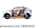 ภาพภายในของ SUV ไฟฟ้าสีเงินบนพื้นหลังสีขาว 38994043