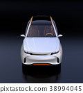 รูปด้านหน้าของรถ SUV ไฟฟ้าสีเงินบนพื้นหลังสีดำ 38994045