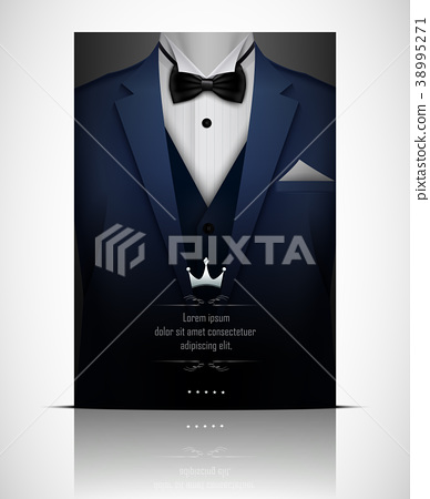 Blue suit and tuxedo with black bow tie 38995271