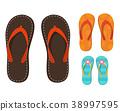 Set of colorful flip flops. 38997595
