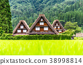 shirakawa-go, shirakawago, having a steep thatched rafter roof 38998814