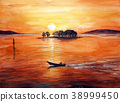 fishing boat, lake shinji, sunset 38999450