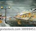 otaru canal, aquarelle, water color 38999451