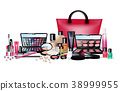 Set of cosmetics on isolated background 38999955