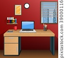 Workplace in room with view city at window 39000116