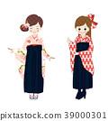 袴姿의 여성 일본 의상 39000301