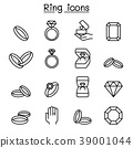 Ring icon set in thin line style 39001044