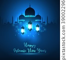 Happy islamic new year with silhouette mosque and  39002296