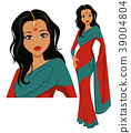 Cute Indian woman wearing a beautiful saree 39004804