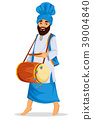 Sikh man with decorated drum 39004840