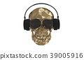 The golden low poly skull DJ with white background 39005916