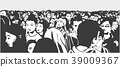 Illustration of mixed ethnic crowd 39009367