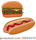 Hamburger and hot dog. Fast food 39009374