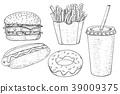 Fast food set. Hand drawn sketch 39009375