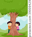 kids, tree, vector 39009429
