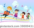 Stickman Kids Music Parade Rainbow Illustration 39009431