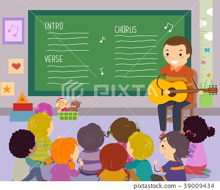 Stickman Kids Teacher Song Illustration 39009434