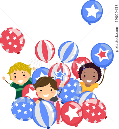 Stickman Kids Memorial Day Balloons Illustration 39009458