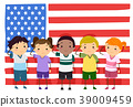 Stickman Kids Memorial Flag Salute Illustration 39009459