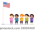 Stickman Kids Pledge Flag Illustration 39009469