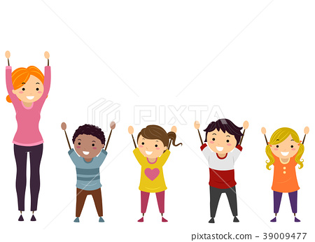 Stickman Kids Teacher Arms Upward Illustration 39009477