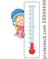 Kid Girl Cold Temperature Illustration 39009490