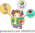 Kid Girl Picture Dictionary Illustration 39009520