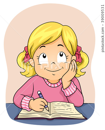 Kid Girl Write Book Think Illustration 39009531