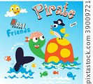Pirate animal cartoon vector 39009721