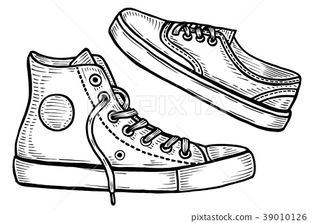 Hand drawn Two sneakers. 39010126