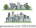 Cartoon hand drawing city, with color on white bac 39010360