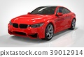 Red shiny sports car in the coupe. 3d rendering. 39012914