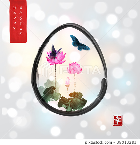 Easter card in japanese style. Pink lotus flowers 39013283