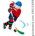 นักกีฬาหญิงสาวคนหนึ่งเล่นฮ็อกกี้น้ำแข็ง 39015409
