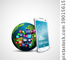 White touch screen smartphone with application ico 39015615