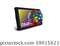 Tablet PC with colorful application icons isolated 39015621